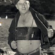 Dick Charles wearing his safety belt